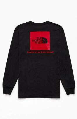 The North Face Black Red Box Long Sleeve T-Shirt