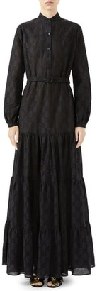 Gucci Micro GG Broderie Anglaise Long Sleeve Maxi Dress