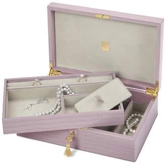 Aspinal of London Savoy Jewellery Box In Deep Shine Lilac Small Croc