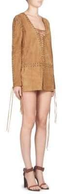 Saint Laurent Suede Lace-Up Mini Dress