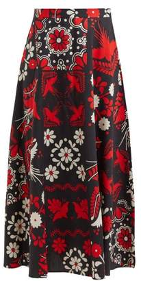 RED Valentino Floral And Bird Print Cotton Maxi Skirt - Womens - Black Multi