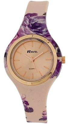 Ravel Ladies Girls Rose goldtone Dial Floral Silicone Strap Watch R1801.25F