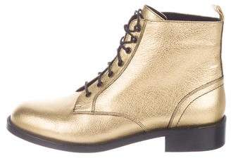 Saint Laurent Leather Round-Toe Ankle Boots