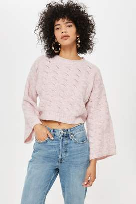 Topshop Womens Petite Stretch Cropped Jumper - Pink