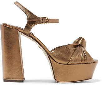 Dolce & Gabbana Knotted Metallic Leather Platform Sandals - Gold