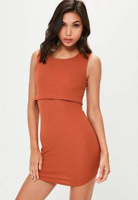 Missguided Rust Double Layer Crepe Dress