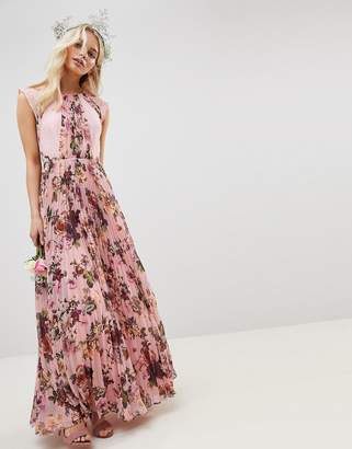 Asos Design DESIGN Pleated Short Sleeved Maxi Dress In Pink Floral Print