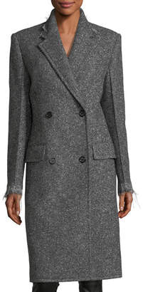 Helmut Lang Double-Breasted Wool Coat with Frayed Edges
