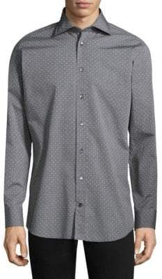 Luciano Barbera Regular-Fit Polka Dot Cotton Button-Down Shirt