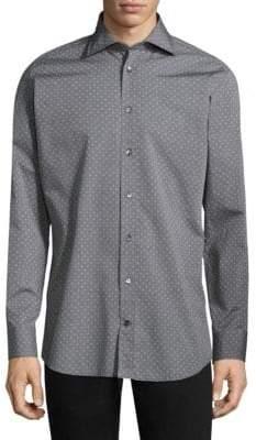 Luciano Barbera Men's Regular-Fit Polka Dot Cotton Button-Down Shirt - Grey - Size Medium