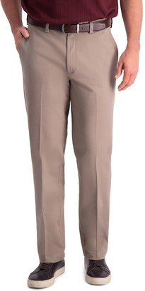 Haggar Men's Premium Comfort Khaki Classic-Fit Flat-Front Hidden Expandable Waistband Casual Pants