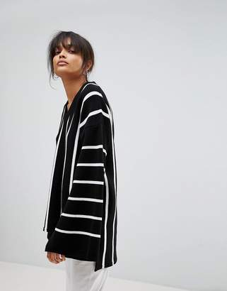 boohoo Wide Sleeve Striped Oversized Sweater