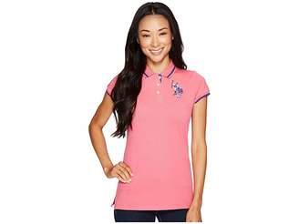 U.S. Polo Assn. Solid Pique Polo Shirt Women's Short Sleeve Knit