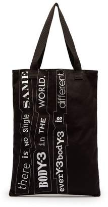 Y-3 Y 3 Printed Cotton Canvas Tote Bag - Mens - Black