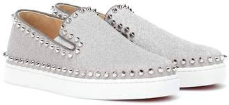 Christian Louboutin Pik Boat glitter leather sneakers