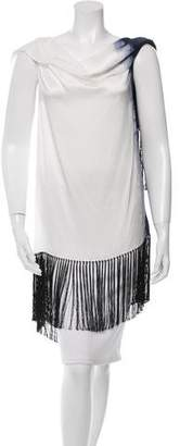 Dusan Silk Fringe-Accented Top