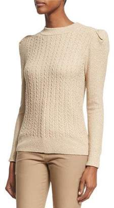 Co Metallic Cable-Knit Puff-Sleeve Sweater, Gold