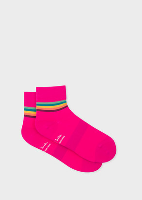 Paul Smith Mens Fuchsia Artist Stripe Trim Cycling Socks