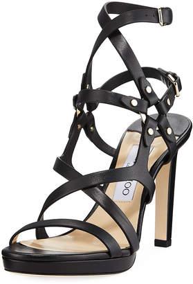 Jimmy Choo Monica 100mm Leather Harness Sandals