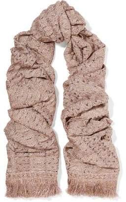 Missoni Mare Fringed Metallic Crochet-Knit Scarf