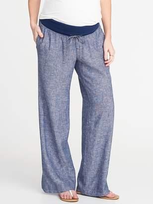 Old Navy Maternity Rollover-Waist Linen-Blend Pants