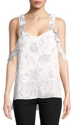 Ellen Tracy Ruffled Sleeveless Printed Top