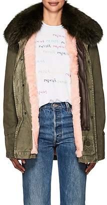 Mr & Mrs Italy Women's Fur-Collar Cotton Canvas Field Jacket - Dk. Green