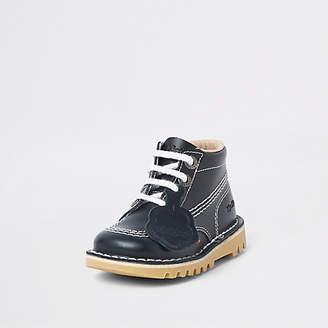 Kickers Mini kids navy lace-up boots