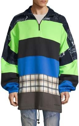 Balenciaga Mixed-Media Half-Zip Cotton-Blend Sweater