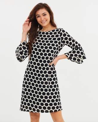 Wallis Halo Spot Flute Sleeve Dress