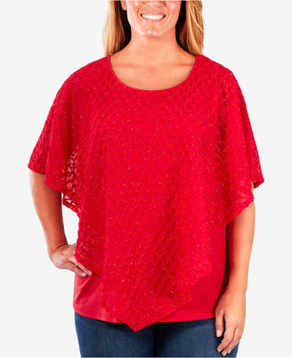 NY Collection Plus Size Layered-Look Poncho Top