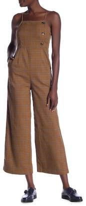 Ivory Rose Plaid Wide Leg Jumpsuit