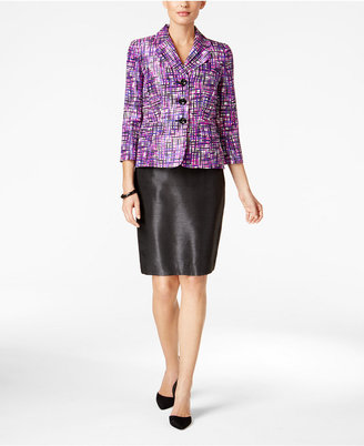 Le Suit Three-Button Printed Skirt Suit $200 thestylecure.com