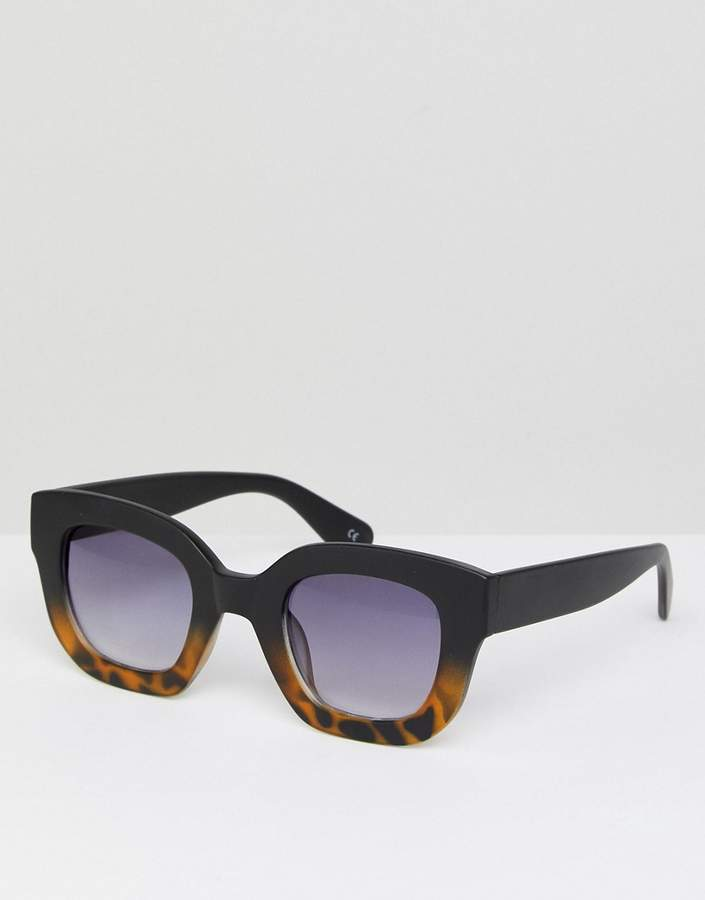ASOS DESIGN ASOS Chunky Square Cat Eye Sunglasses With Black Tort Fade Frame