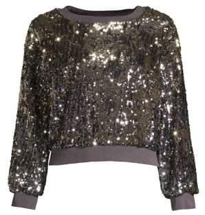 Alice + Olivia Smith Sequin Crop Sweatshirt