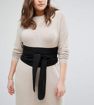 Asos DESIGN Curve black fabric obi belt