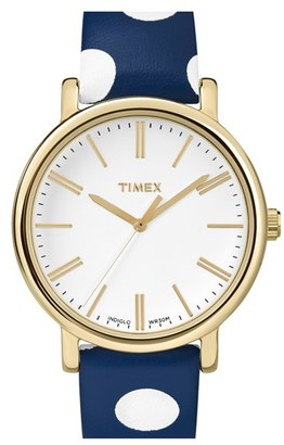 Timex ® 'Classic' Dot Leather Strap Watch, 38mm $75 thestylecure.com