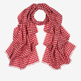 5f23158f9 Bally Checked Cashmere-Silk Scarf Red 1