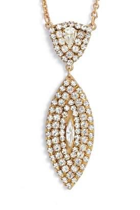 SANDY HYUN Crystal Pendant Drop Necklace