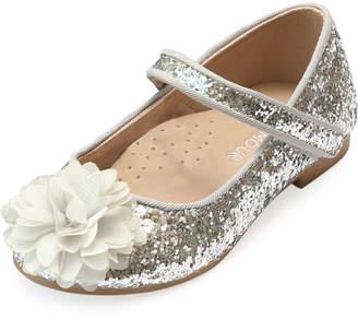 Alice Sparkly Glitter Flower Flats, Baby/Toddler/Kids