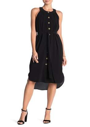 ECI Belted Button Front Midi Dress