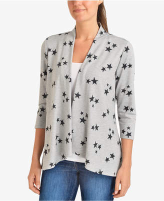 NY Collection Open-Front Printed Cardigan