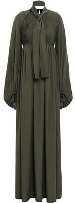 Stella Jean Tie-neck Pleated Crepe De Chine Maxi Dress