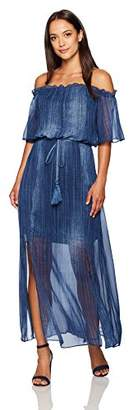 London Times Women's Off The Shoulder Ruffle Maxi with Flutter Sleeves