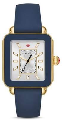 Michele Deco Sport Blue Bezel Watch, 34mm x 36mm