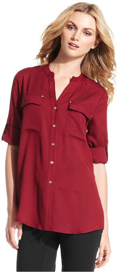 Calvin Klein Top, Long-Sleeve Band-Collar Blouse