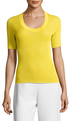 CarvenScoopneck Ribbed Cotton Sweater