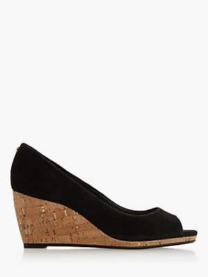 Dune Caydence Peep Toe Cork Wedge Court Shoes