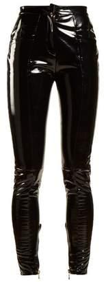 Balmain - Coated Mid Rise Skinny Leg Trousers - Womens - Black