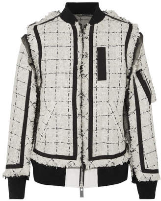 Sacai Grosgrain And Chiffon-trimmed Tweed Bomber Jacket - Ivory